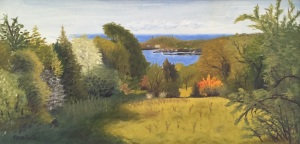 pigeon hill field, rockport, ma oil on board