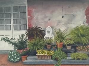 bricks & greens at the door oil on canvas