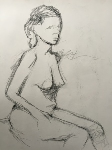 figure study, anxious charcoal on paper