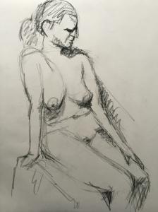 figure study, laid back charcoal