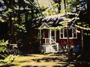 the cottage, ocean park, me oil on canvas